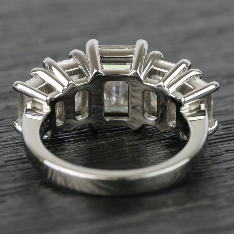Custom Emerald Moissanite Five-Stone Engagement Ring angle 4