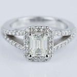 Emerald Halo Split Shank Engagement Ring in White Gold (0.93 ct.) - small
