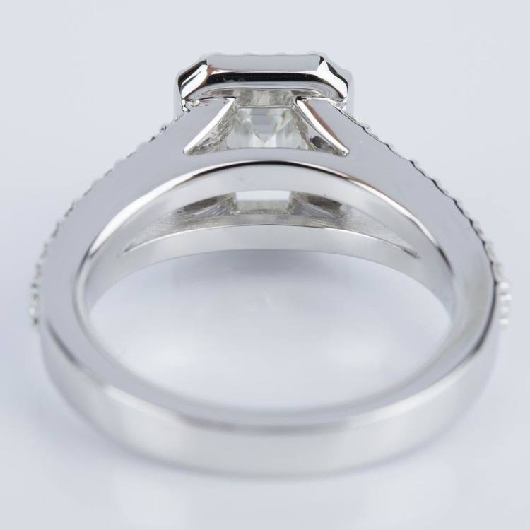 Emerald Halo Split Shank Engagement Ring in White Gold (0.93 ct.) angle 4