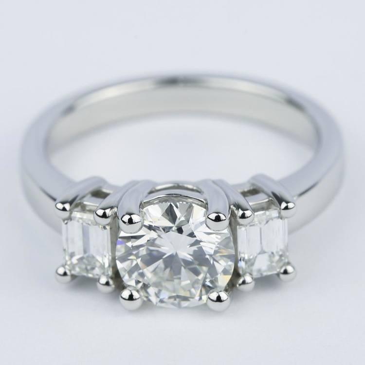 Emerald Three-Diamond Engagement Ring in Platinum (1.05 ct.)