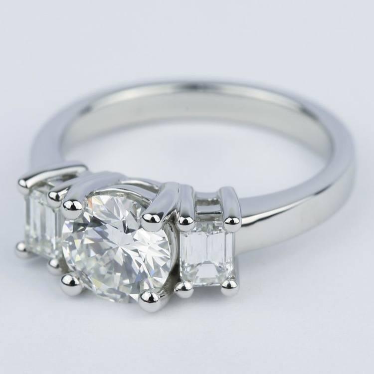 Emerald Three-Diamond Engagement Ring in Platinum (1.05 ct.) angle 2