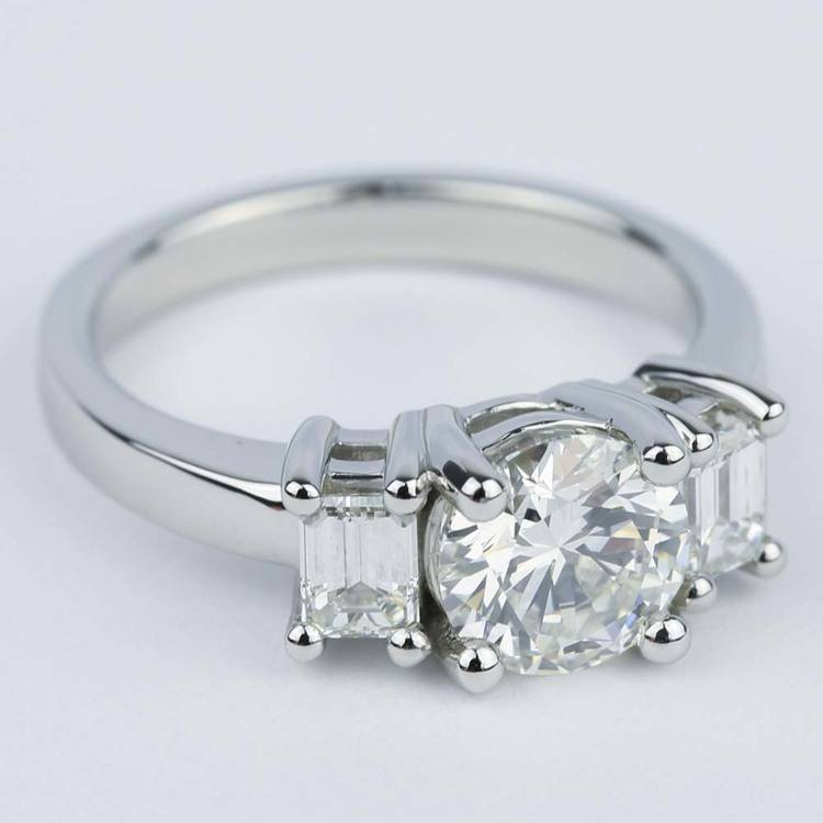 Emerald Three-Diamond Engagement Ring in Platinum (1.05 ct.) angle 3