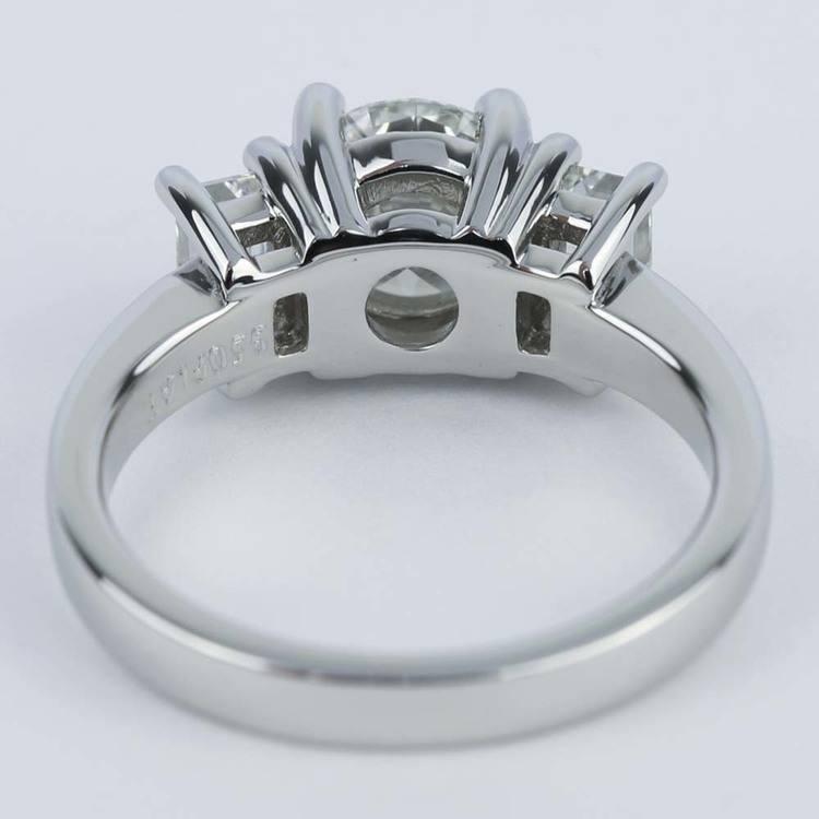 Emerald Three-Diamond Engagement Ring in Platinum (1.05 ct.) angle 4
