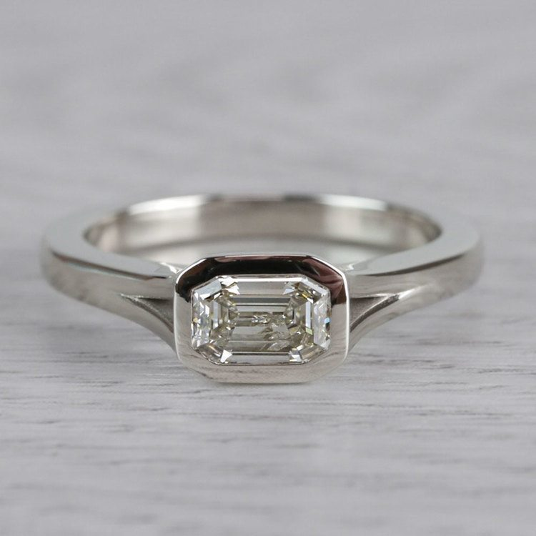 East West Emerald Cut Diamond Solitaire Engagement Ring