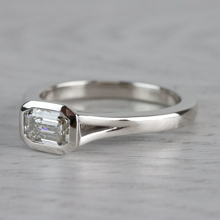 East West Emerald Cut Diamond Solitaire Engagement Ring angle 2