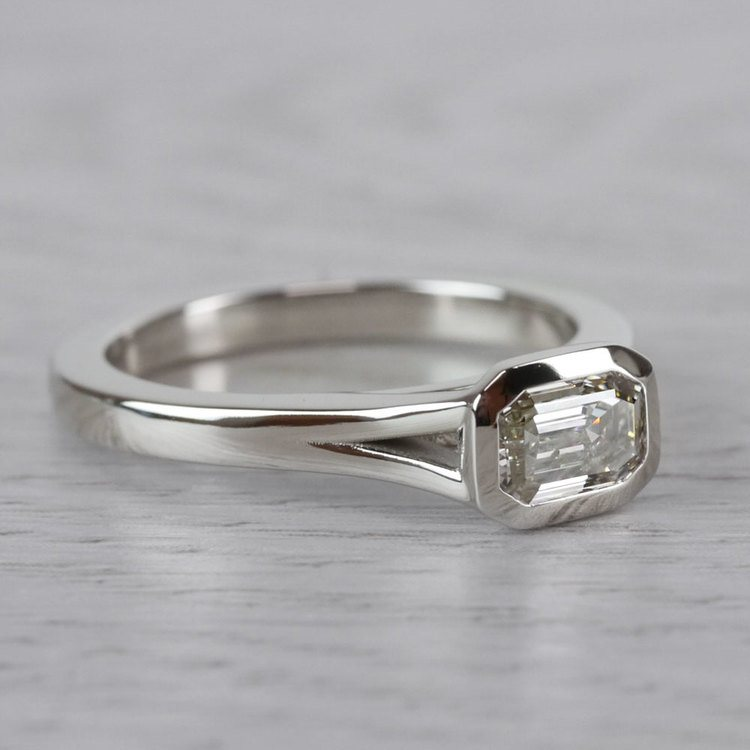 East West Emerald Cut Diamond Solitaire Engagement Ring angle 3