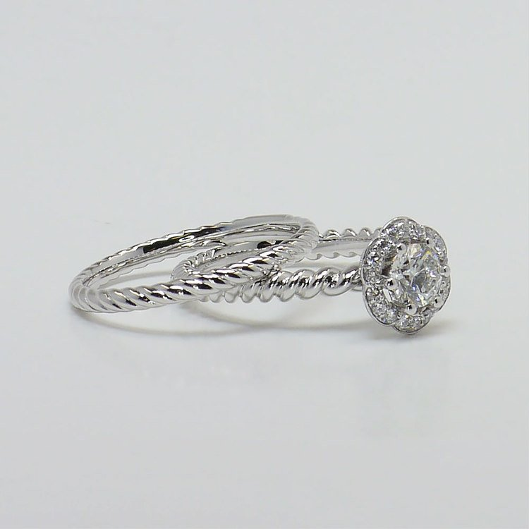 Twisted Rope 0.45 Carat Round Floral Halo Diamond Engagement Ring angle 3
