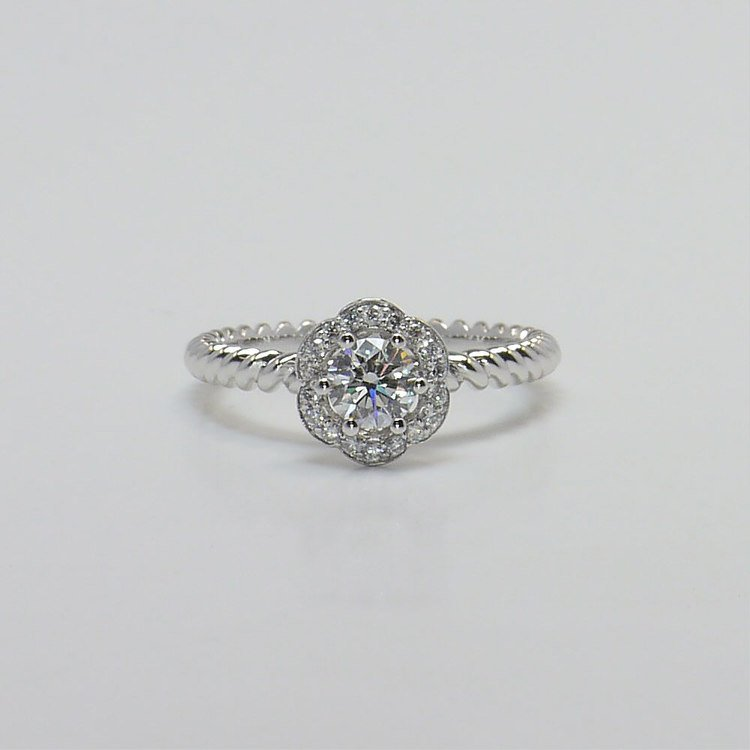 Twisted Rope 0.45 Carat Round Floral Halo Diamond Engagement Ring
