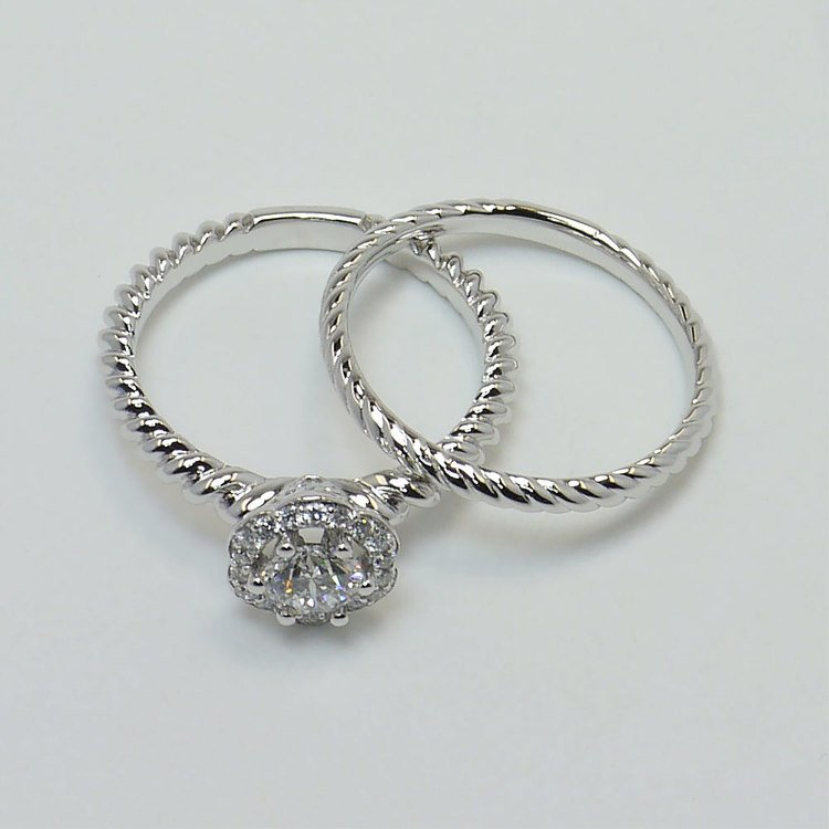 Twisted Rope 0.45 Carat Round Floral Halo Diamond Engagement Ring angle 4