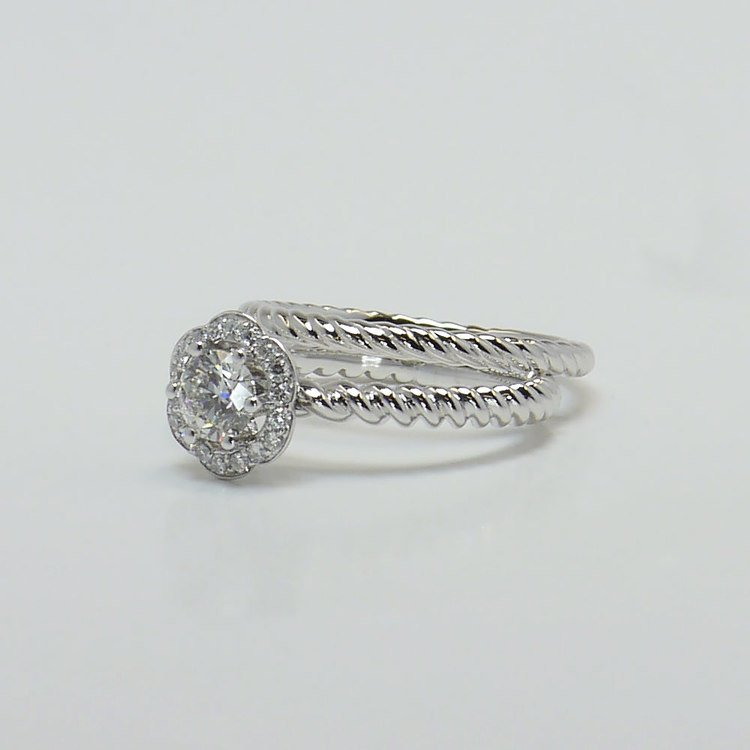 Twisted Rope 0.45 Carat Round Floral Halo Diamond Engagement Ring angle 2