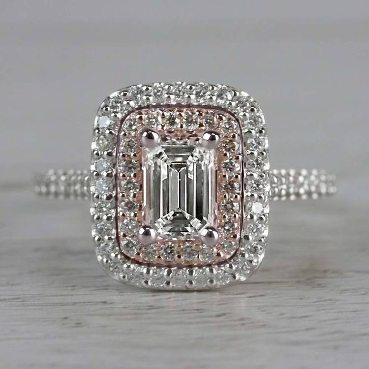 Excellent Emerald Cut Diamond Double Halo Engagement Ring