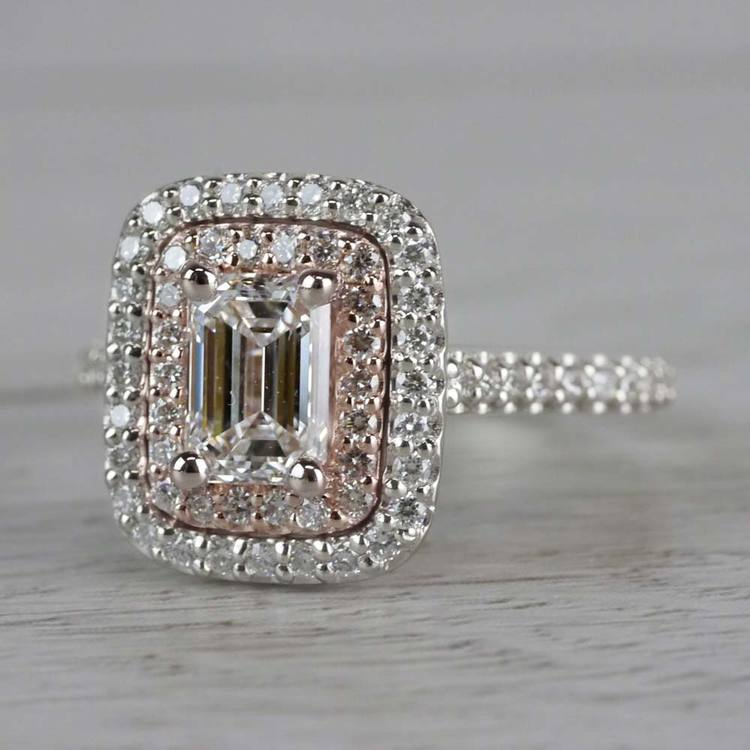 Excellent Emerald Cut Diamond Double Halo Engagement Ring angle 2