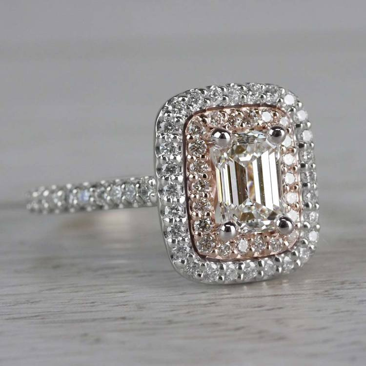 Excellent Emerald Cut Diamond Double Halo Engagement Ring angle 3