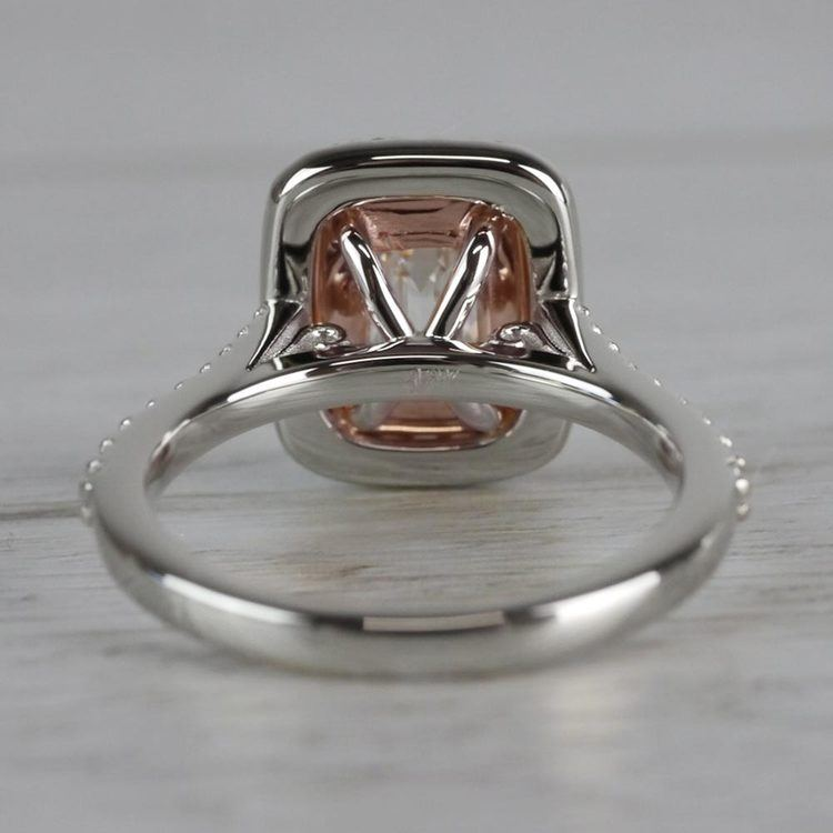 Excellent Emerald Cut Diamond Double Halo Engagement Ring angle 4