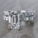 Extraordinary Emerald Cut Diamond Ring with Matching Eternity Band - small angle 2