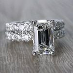 Extraordinary Emerald Cut Diamond Ring with Matching Eternity Band - small angle 3