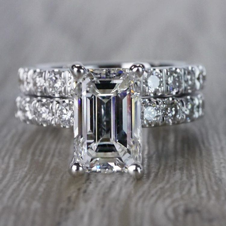Extraordinary Emerald Cut Diamond Ring with Matching Eternity Band