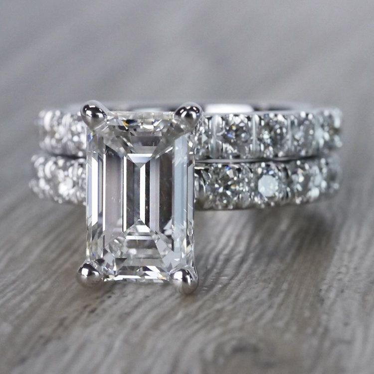 Extraordinary Emerald Cut Diamond Ring with Matching Eternity Band angle 2