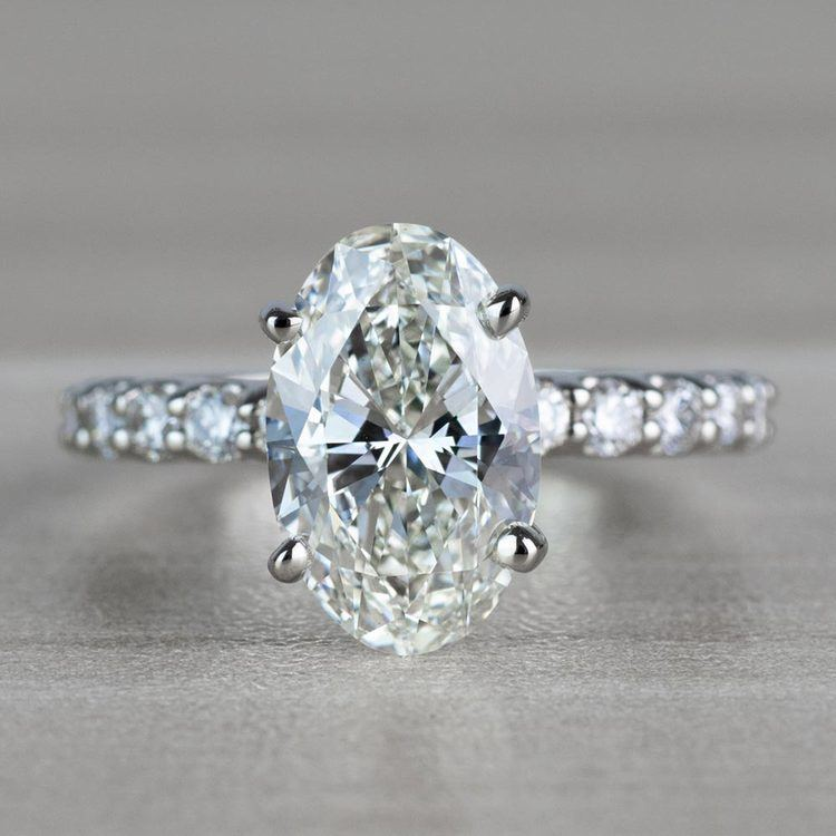 Extravagant U Prong White Gold Oval Diamond Ring
