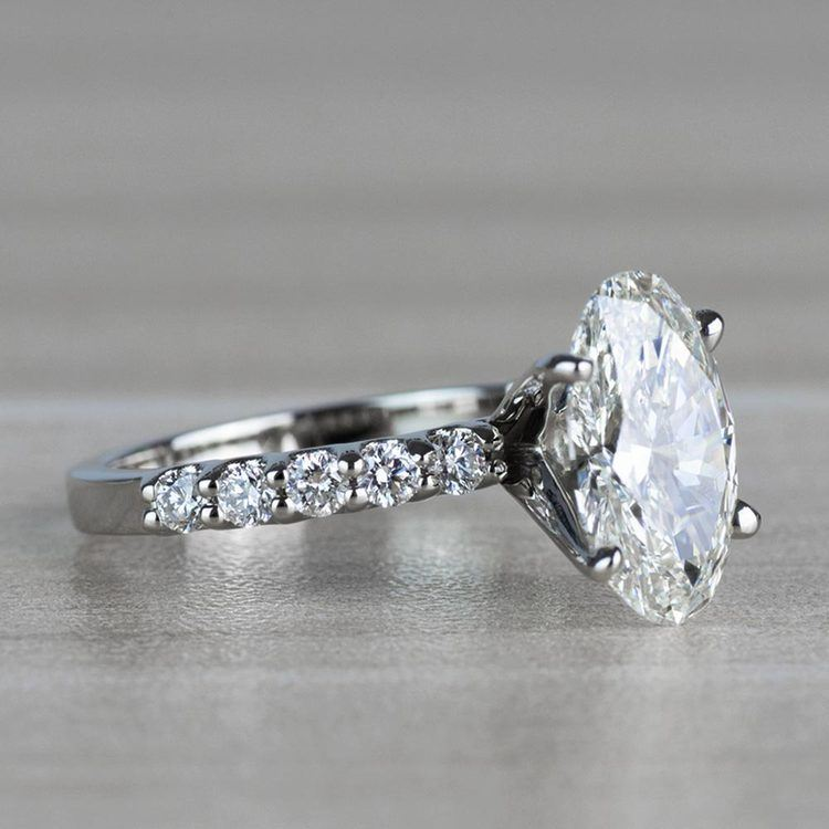 Extravagant U Prong White Gold Oval Diamond Ring angle 3