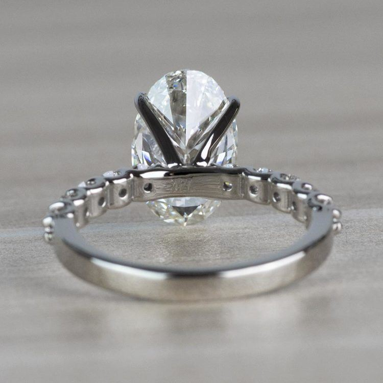 Extravagant U Prong White Gold Oval Diamond Ring angle 4