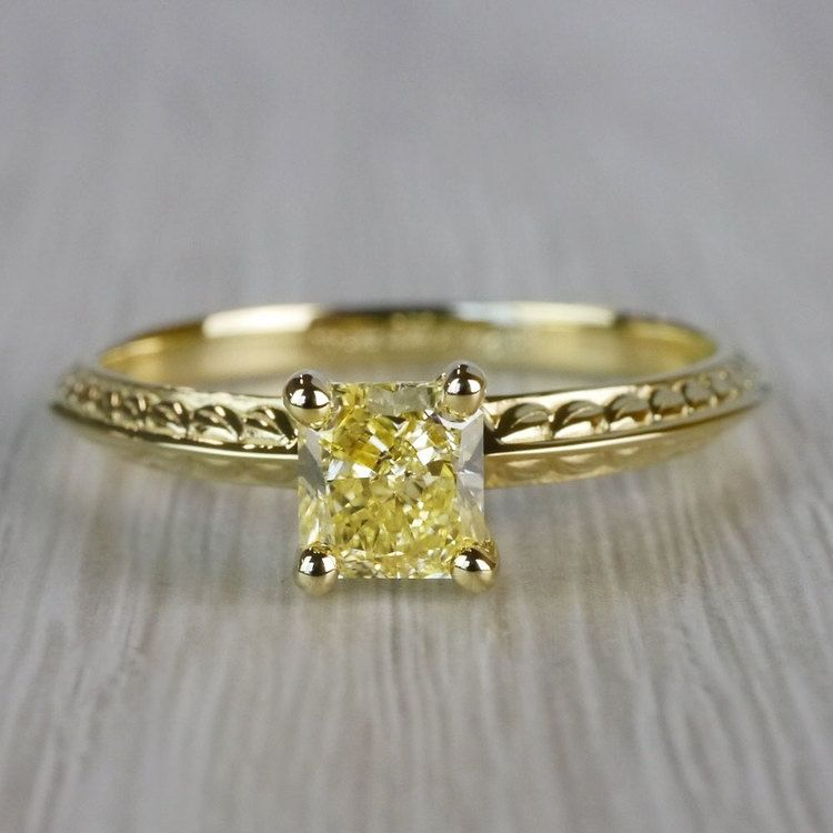 Fabulous Fancy Yellow Diamond Antique Engagement Rings