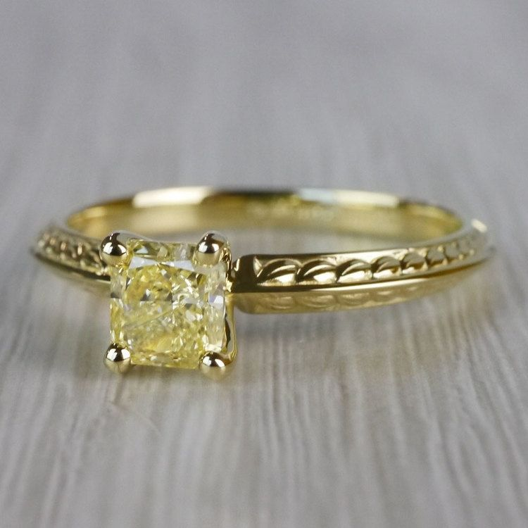 Fabulous Fancy Yellow Diamond Antique Engagement Rings angle 2