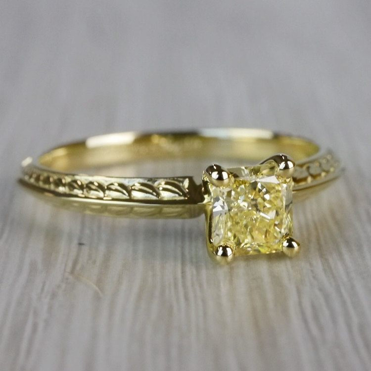 Fabulous Fancy Yellow Diamond Antique Engagement Rings angle 3