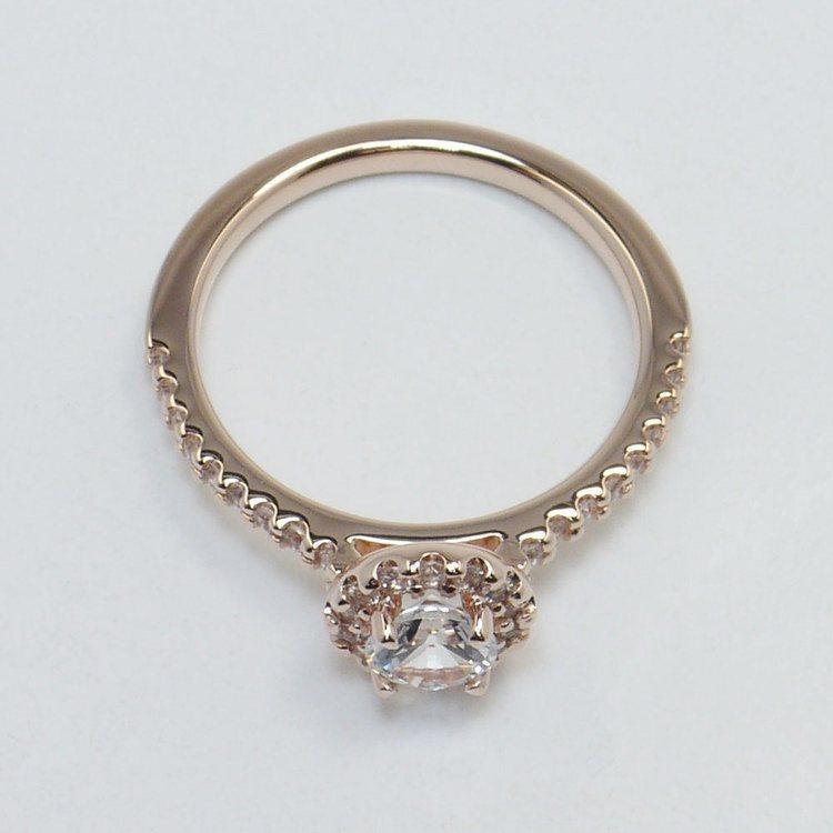 0.90 Carat Petite Pave Round Halo Diamond Engagement Ring angle 4