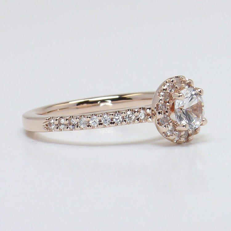 0.90 Carat Petite Pave Round Halo Diamond Engagement Ring angle 3