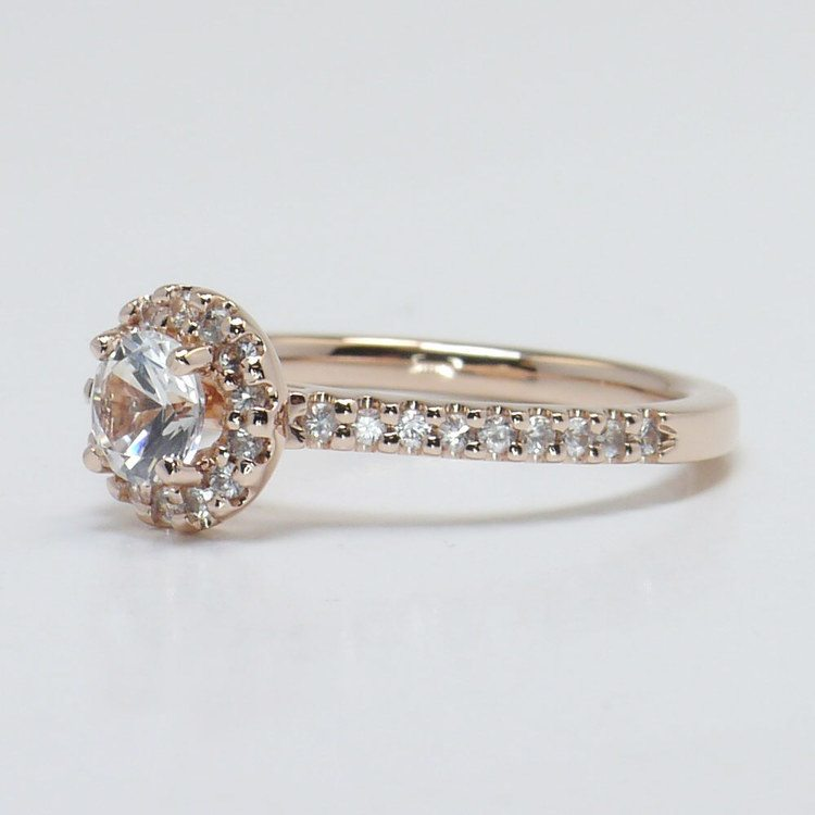 0.90 Carat Petite Pave Round Halo Diamond Engagement Ring angle 2
