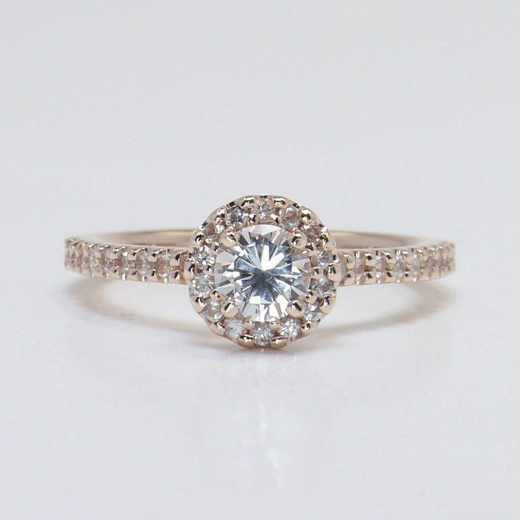 0.90 Carat Petite Pave Round Halo Diamond Engagement Ring