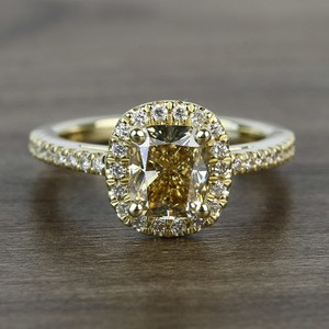 Fancy 1.52 Carat Cushion Halo Diamond Engagement Ring