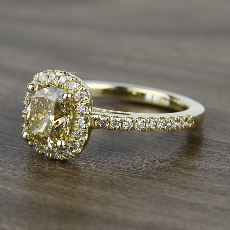 Fancy 1.52 Carat Cushion Halo Diamond Engagement Ring angle 2