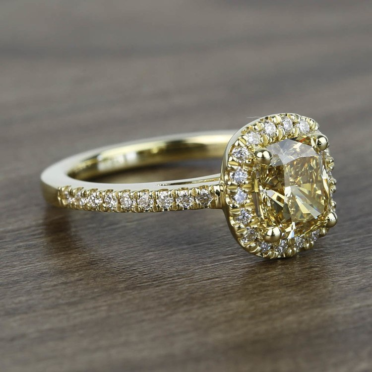 Fancy 1.52 Carat Cushion Halo Diamond Engagement Ring angle 3