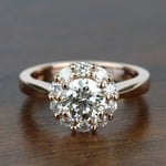 Fancy Floral Halo Round Loose Diamond in 18k Rose Gold - small