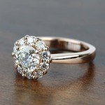 Fancy Floral Halo Round Loose Diamond in 18k Rose Gold - small angle 2