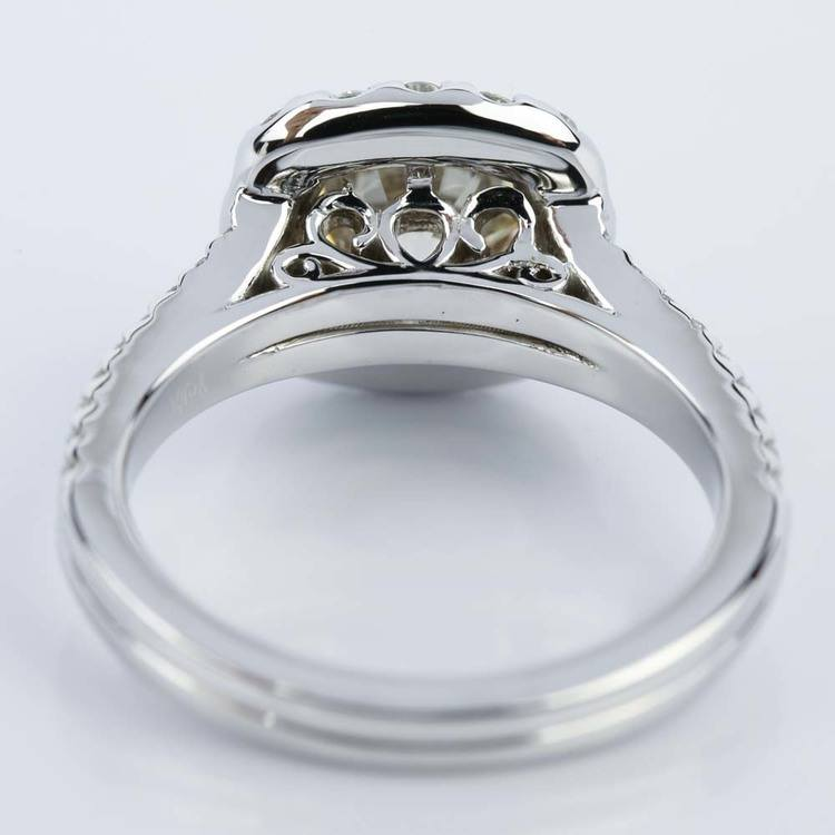 Fancy Gallery Split Shank Halo Round Diamond Engagement Ring (2.50 ct.) angle 4