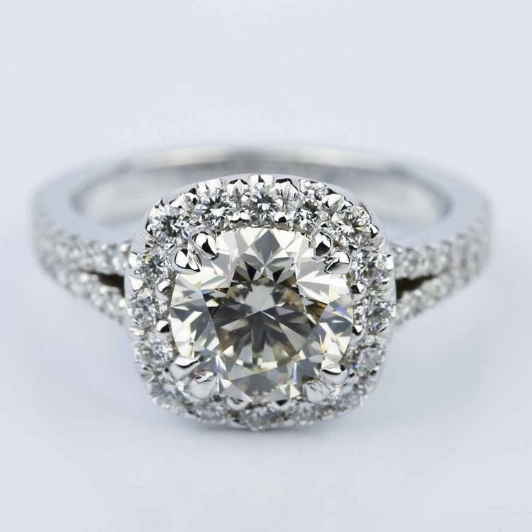 Fancy Gallery Split Shank Halo Round Diamond Engagement Ring (2.50 ct.)