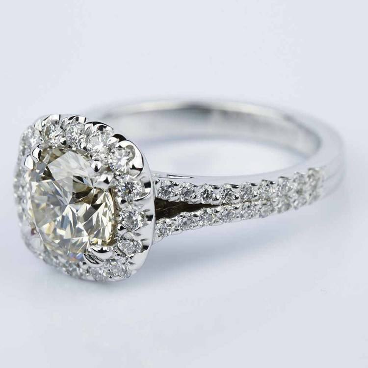 Fancy Gallery Split Shank Halo Round Diamond Engagement Ring (2.50 ct.) angle 2