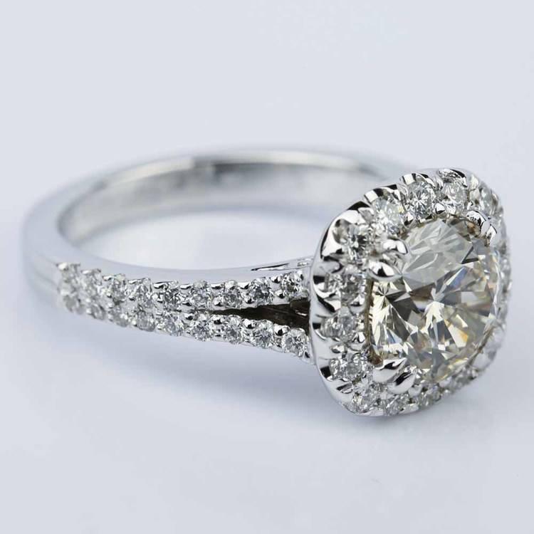 Fancy Gallery Split Shank Halo Round Diamond Engagement Ring (2.50 ct.) angle 3