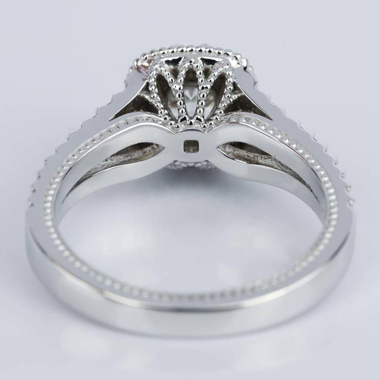 Fancy Milgrain Cushion Halo Diamond Engagement Ring in White Gold (0.50 ct.) angle 4