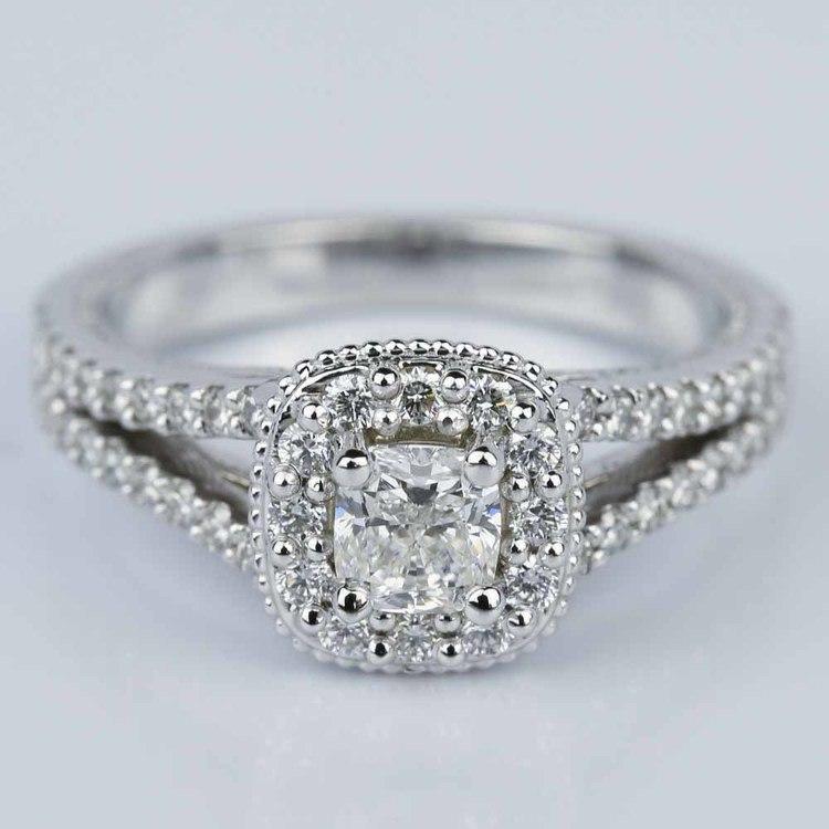Fancy Milgrain Cushion Halo Diamond Engagement Ring in White Gold (0.50 ct.)