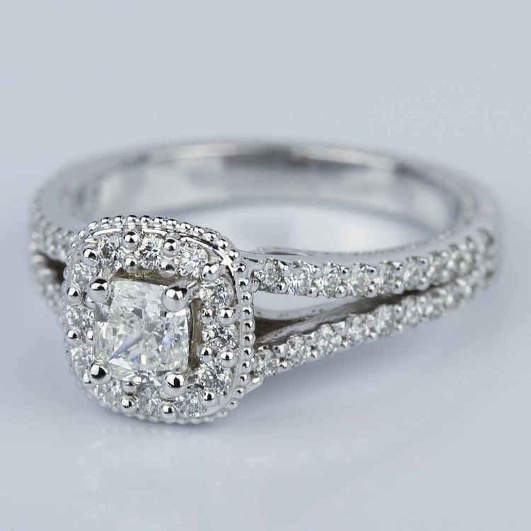 Fancy Milgrain Cushion Halo Diamond Engagement Ring in White Gold (0.50 ct.) angle 2