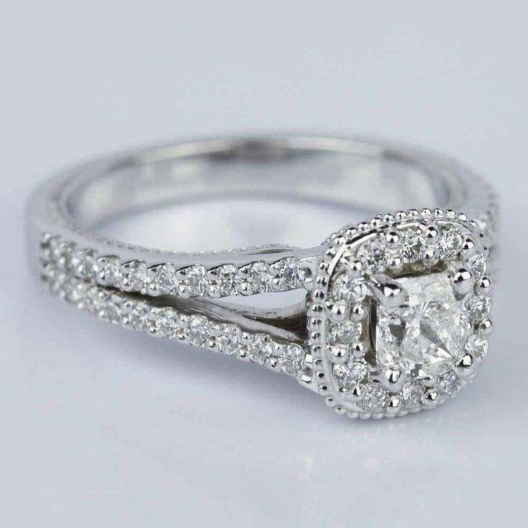 Fancy Milgrain Cushion Halo Diamond Engagement Ring in White Gold (0.50 ct.) angle 3