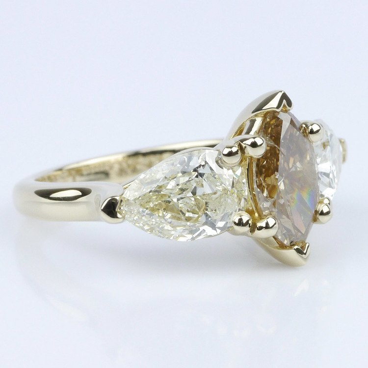 Fancy Three Stone Diamond Ring with Interchangeable Bands angle 3