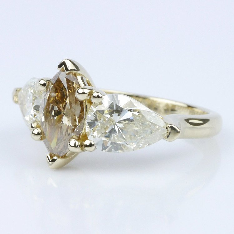Fancy Three Stone Diamond Ring with Interchangeable Bands angle 2