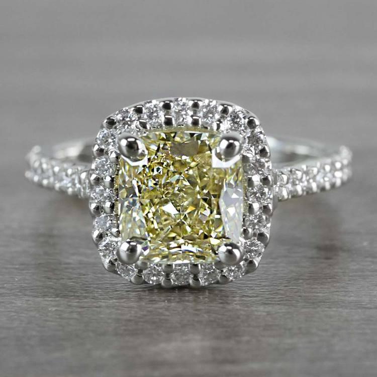 Fancy Yellow Cushion Cut Diamond Halo Ring