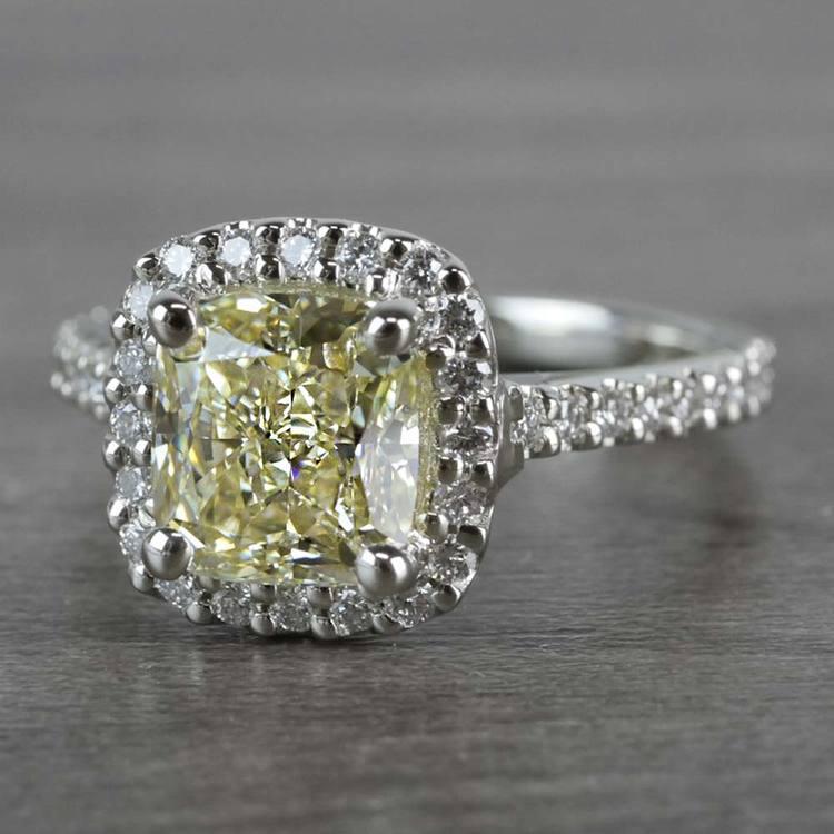Fancy Yellow Cushion Cut Diamond Halo Ring angle 2
