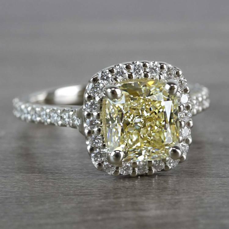 Fancy Yellow Cushion Cut Diamond Halo Ring angle 3